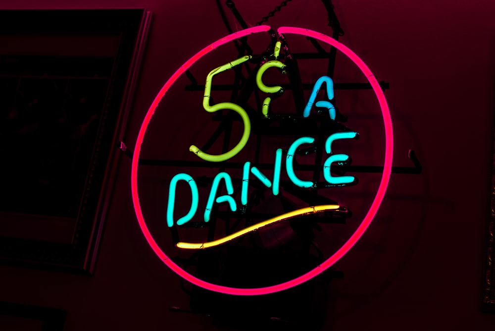 pink and blue 5 A dance neon signage