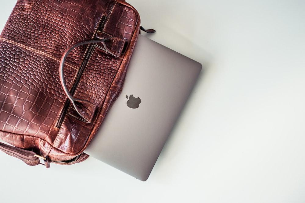 MacBook Pro inside a tote bag