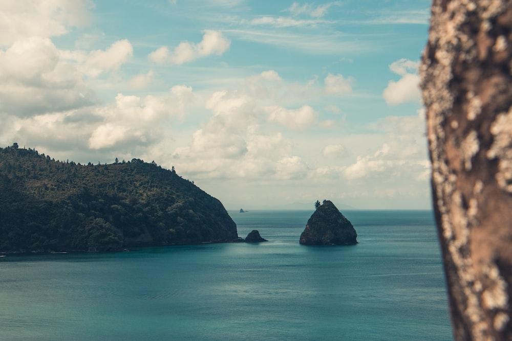 black rock islet in channel