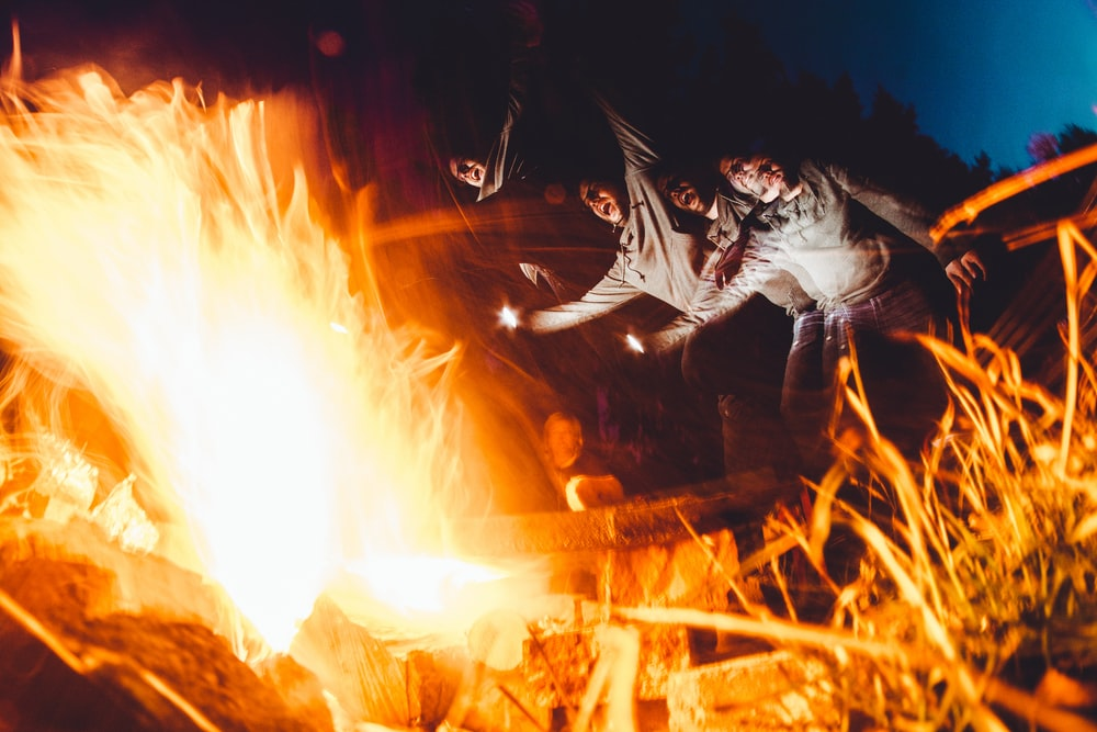 long exposure photography of fire