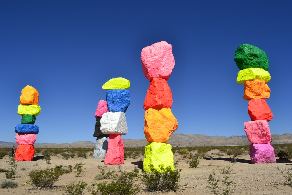 assorted-color pile of stones