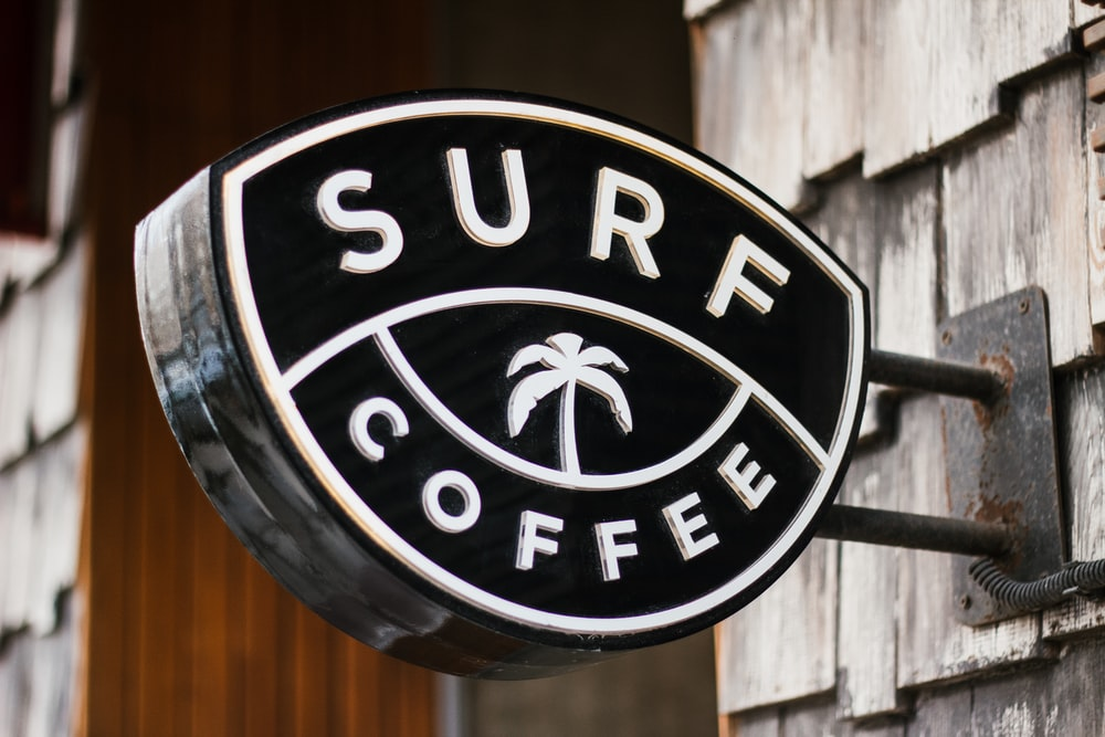 close view of Surf Coffee signage