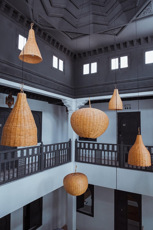 brown wicker pendant lamps