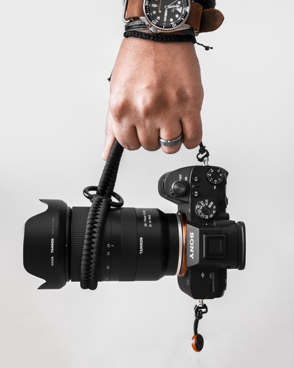 person holding black Sony DSLR camera