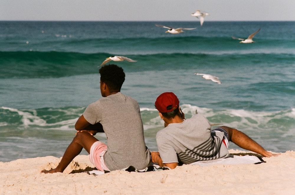 two men on seashore