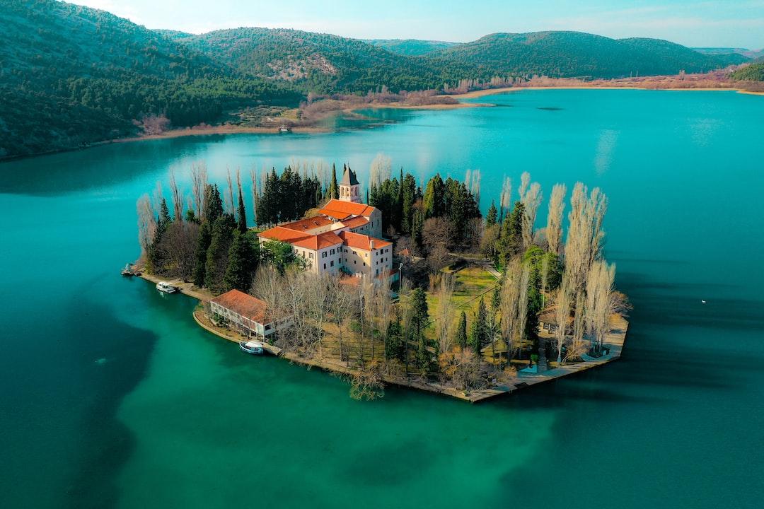 Beautiful view of Visovac Island, National park Krka, Croatia