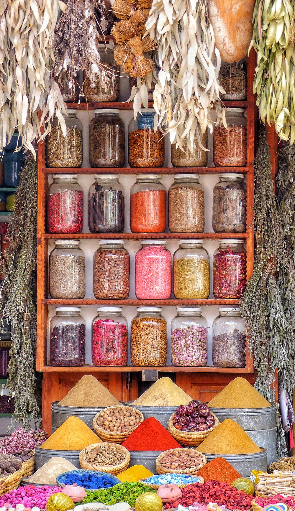 assorted spices on display
