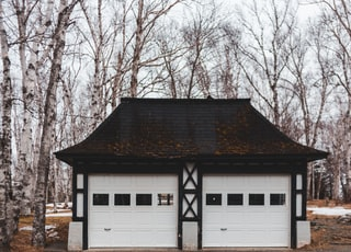 white and brown garage