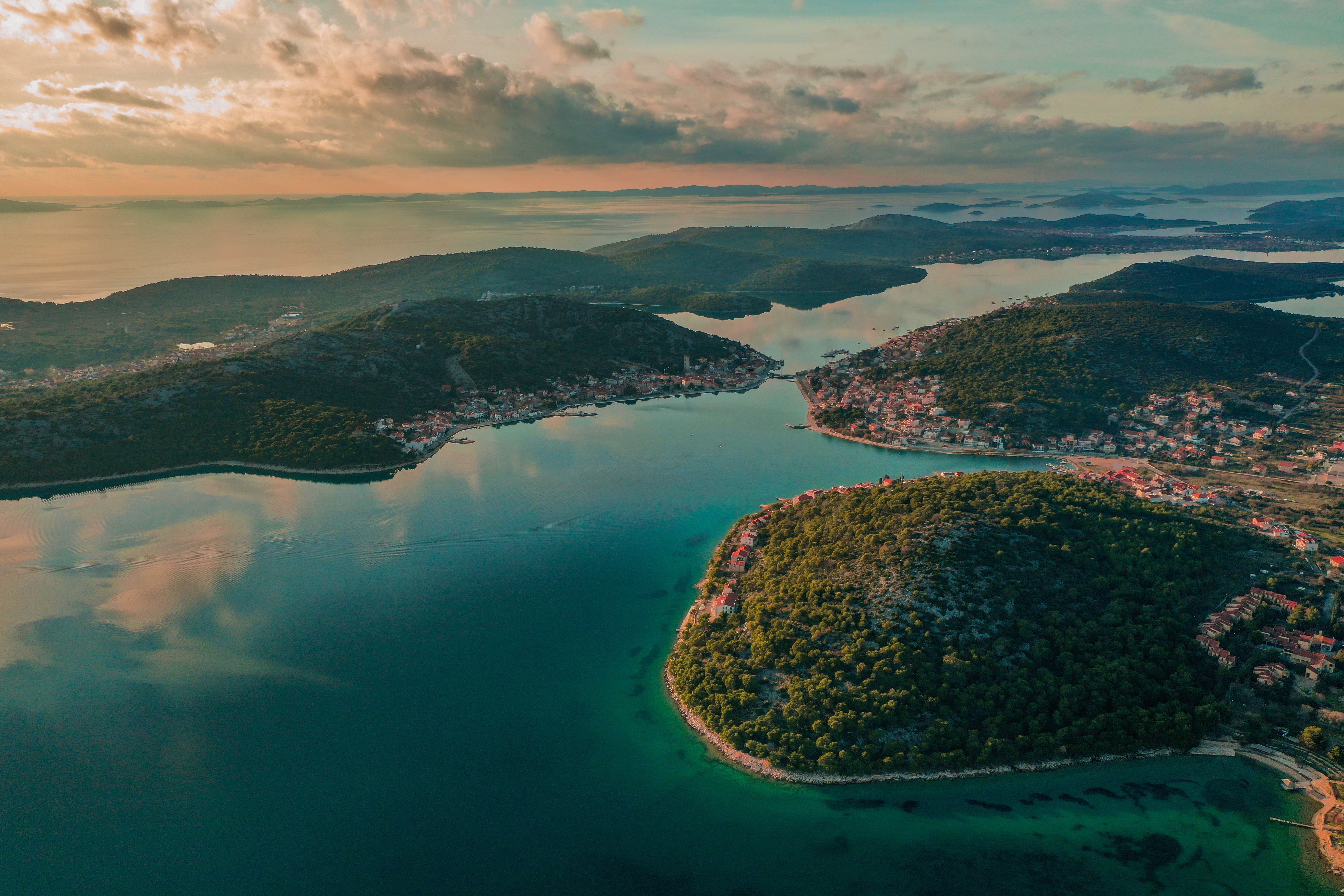 aerial photography of islands during sunset