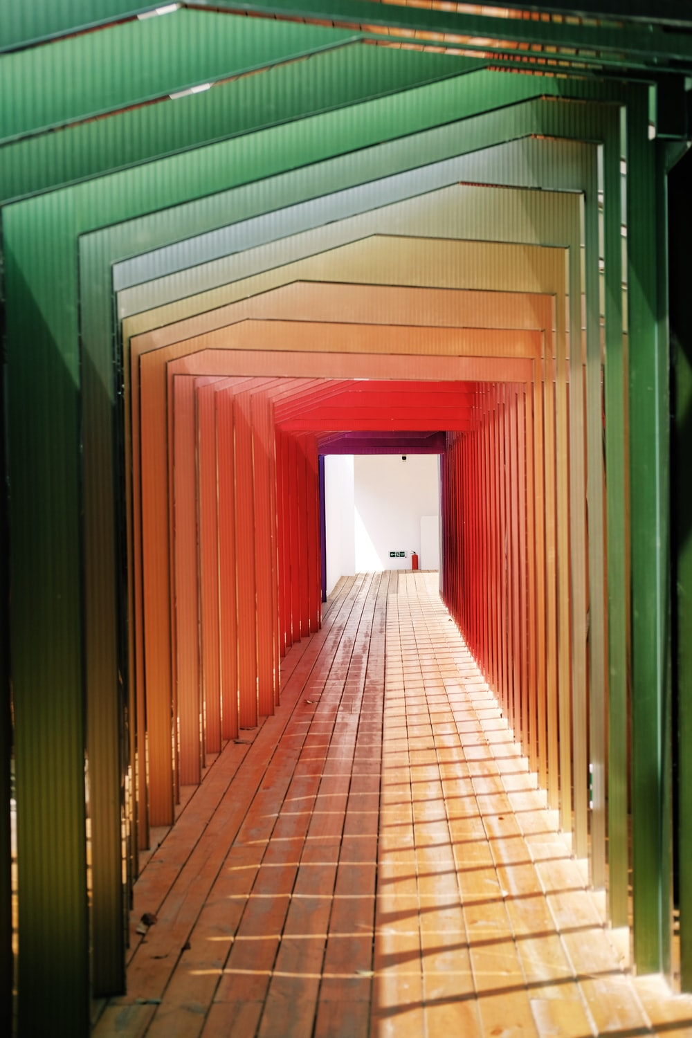green and red wooden hallway interior