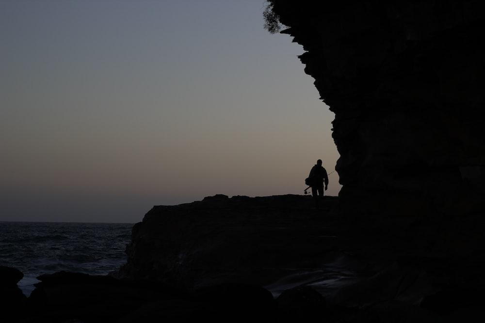 silhouette of person walking beside beach