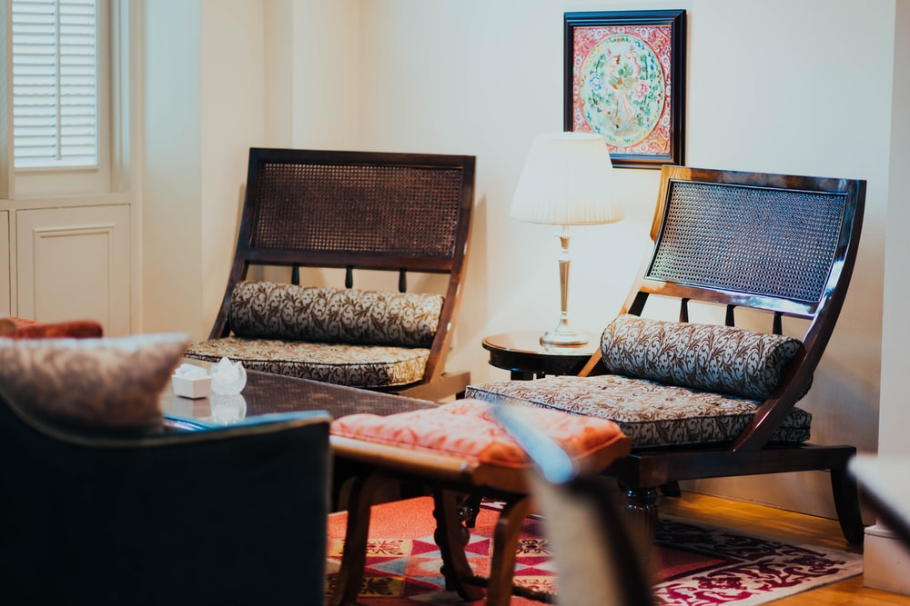 two empty chairs inside house