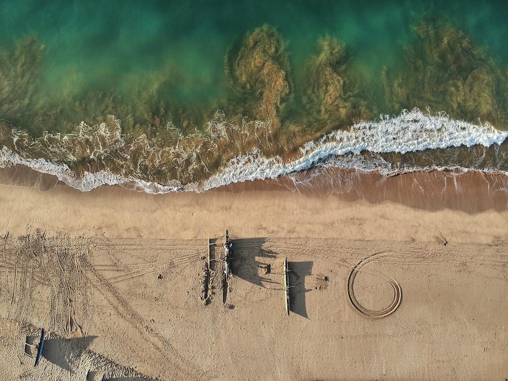 buildings on seashore in aerial photography