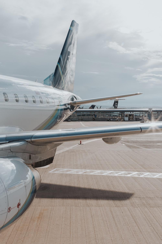 white airplane on