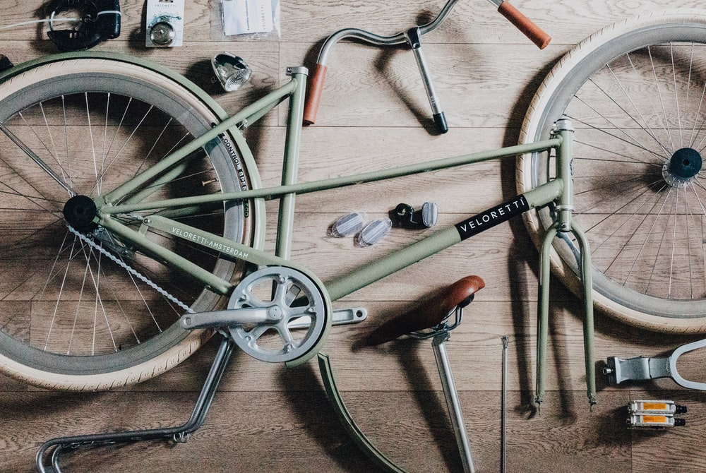 disassemble bicycle on table