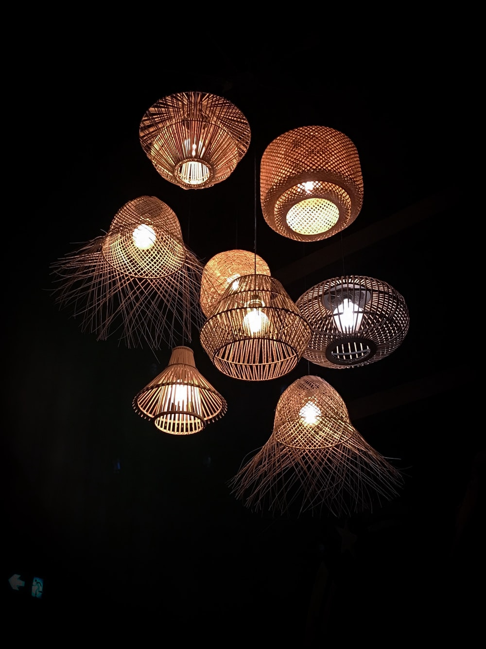lighted wicker pendant lamps