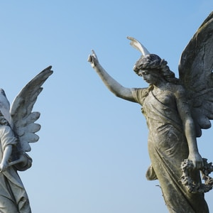 two angel statues