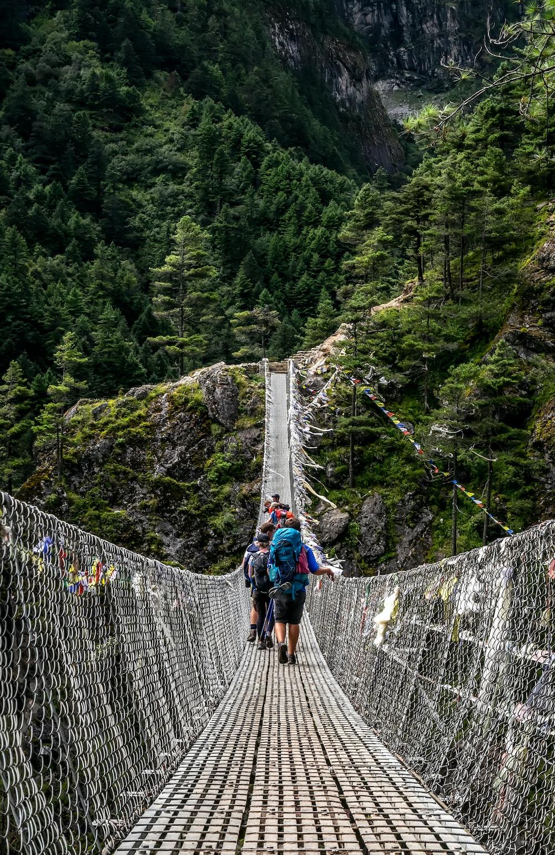people walking on grey rope bridge during daytime