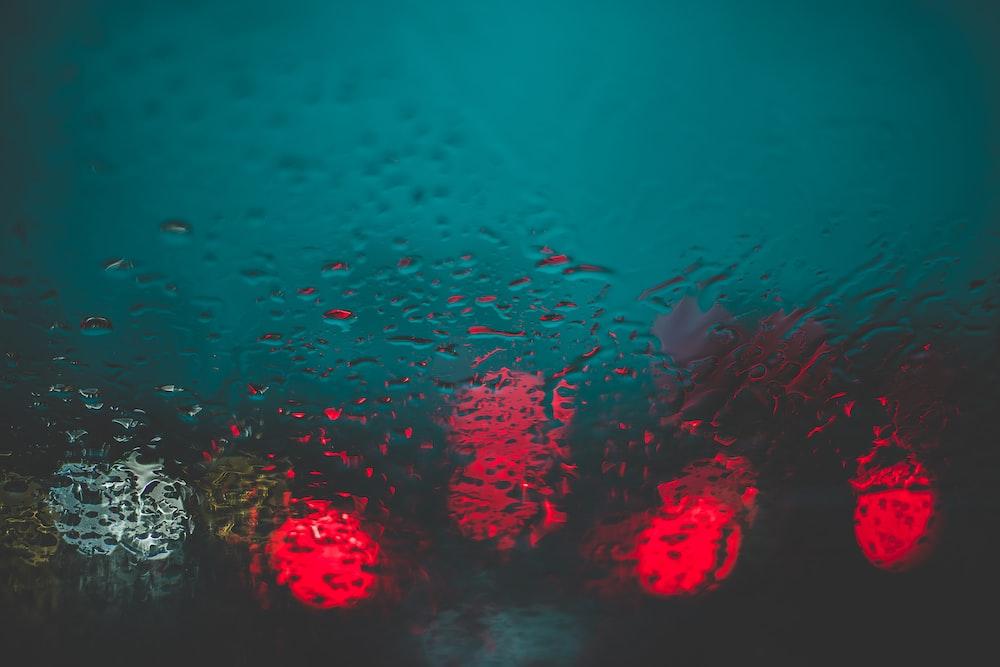 red lights through glass