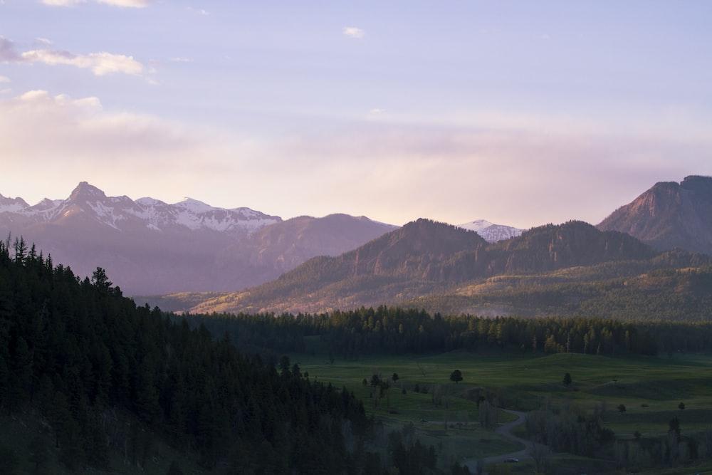 green grass valley between brown hills