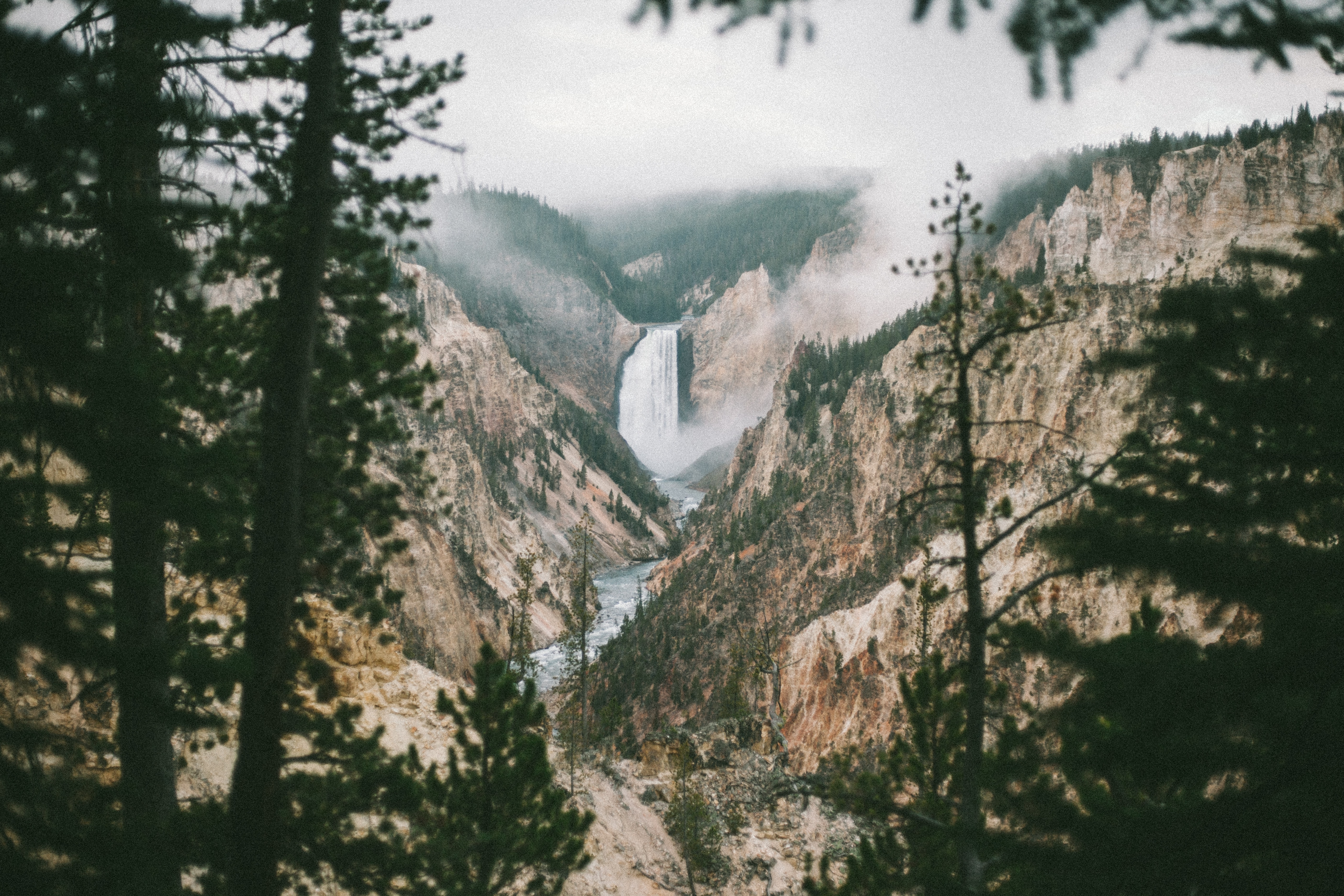 waterfalls and mountain view