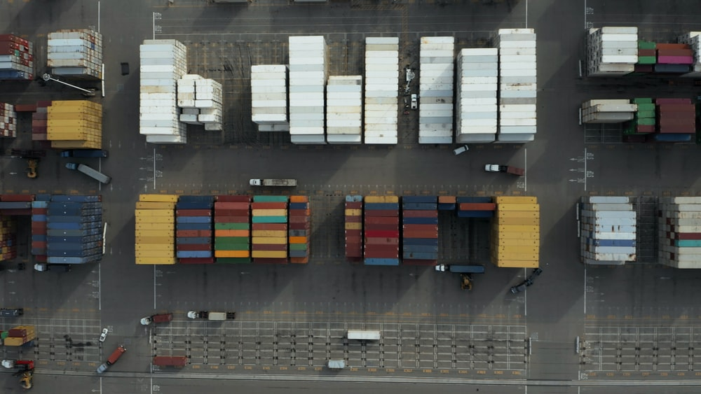 aerial photography of multicolored trailers
