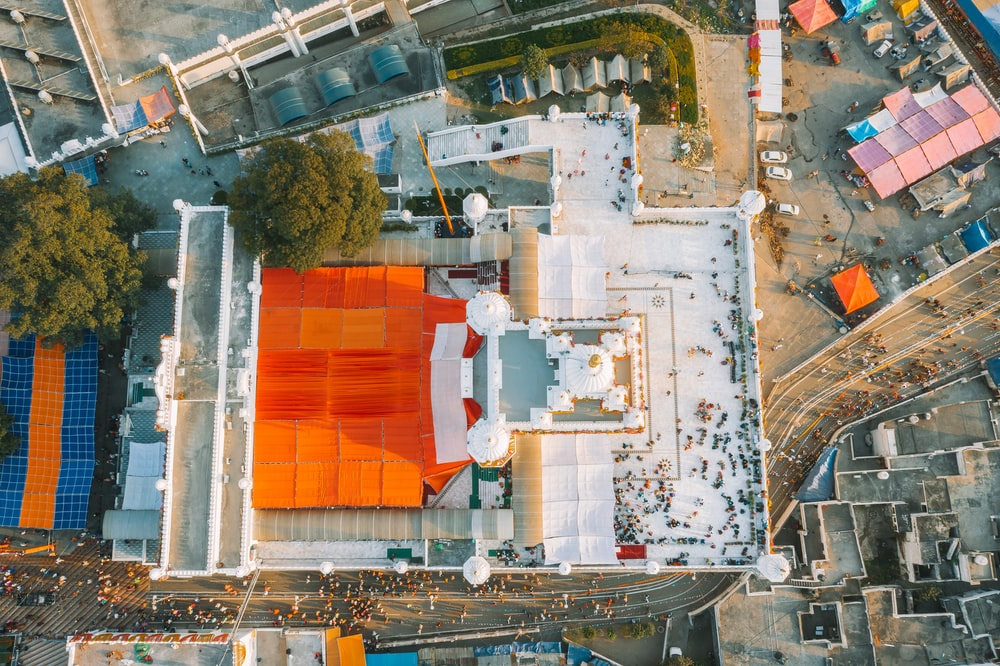 high angle photography of white concrete building