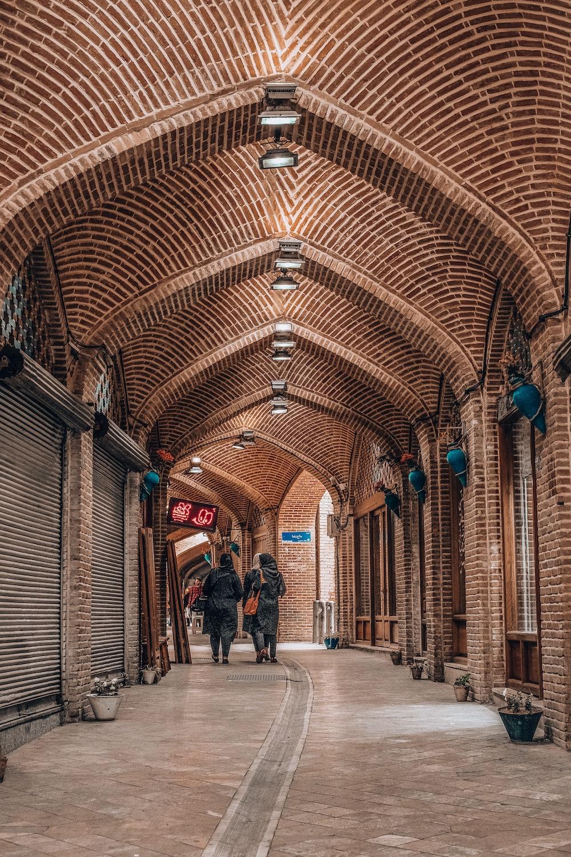 arch brown concrete hallway