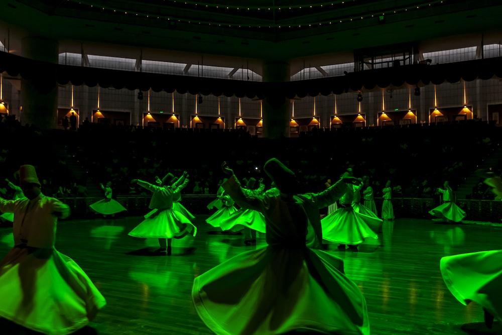 people in dress dancing