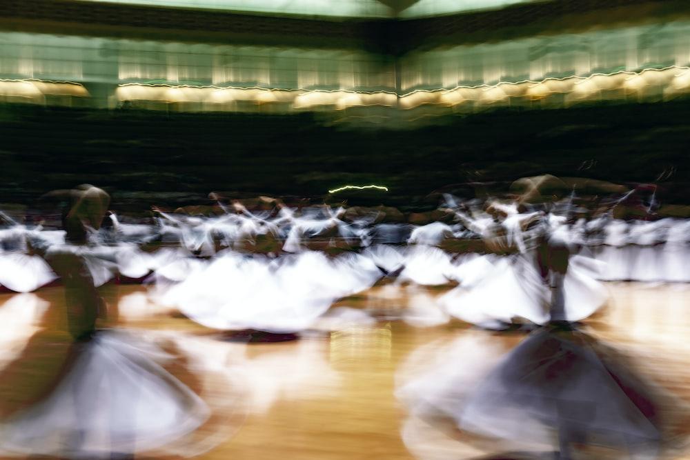 Dervish dancers on floor