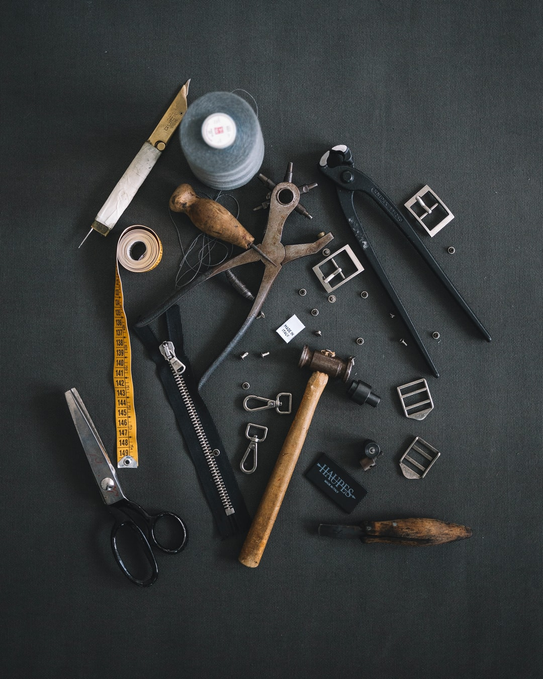 The tools that we use for the creation of the backpacks and the accessories