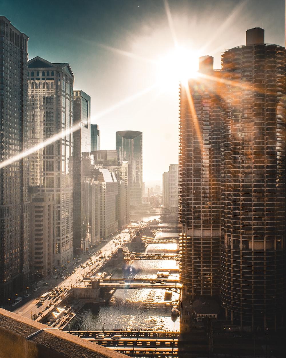 sun raise over the building