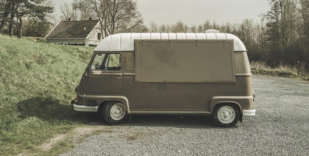 grey and white van photography