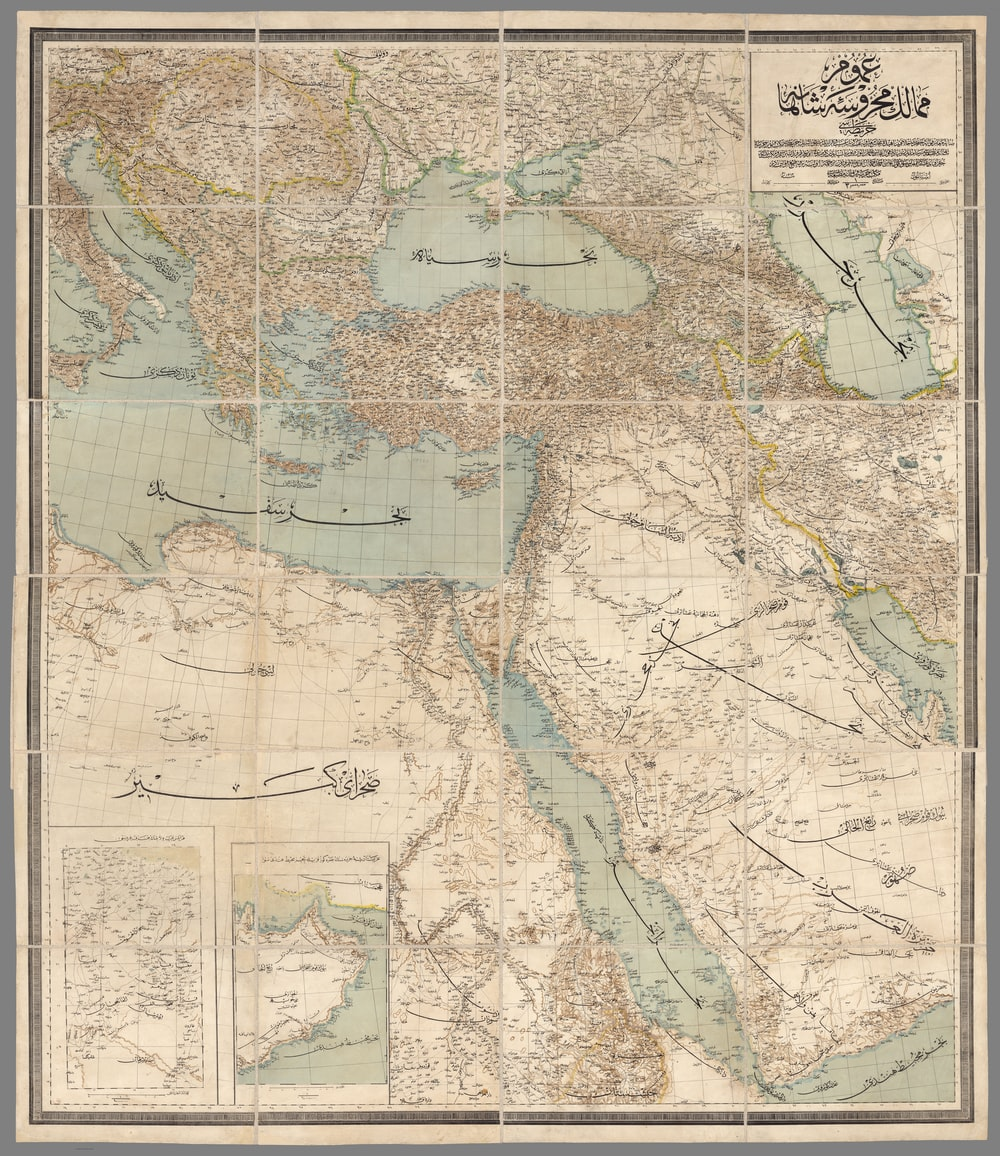 brown and green map