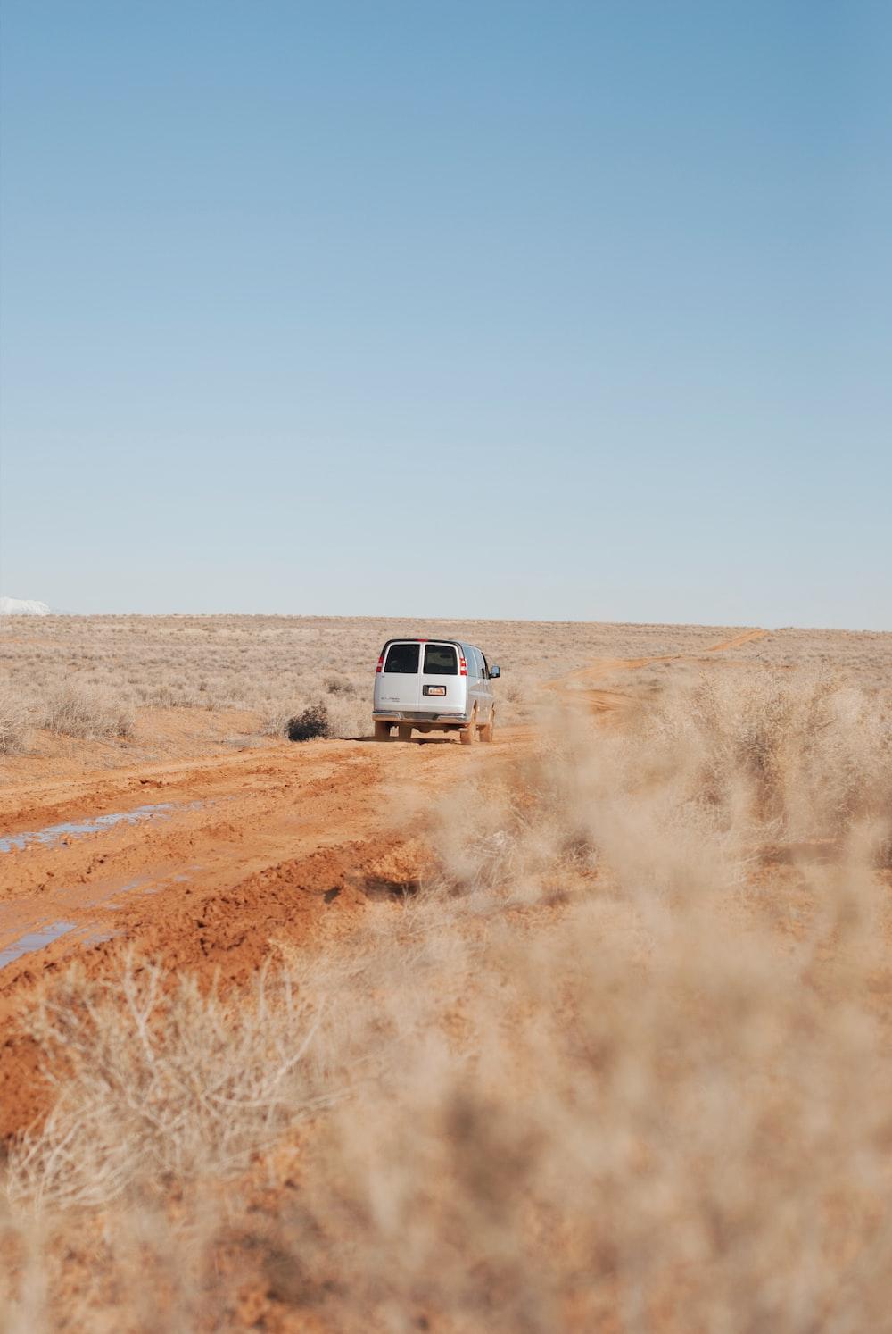 silver van on road