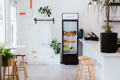 black refrigerator near kitchen island bar mitzvah zoom background