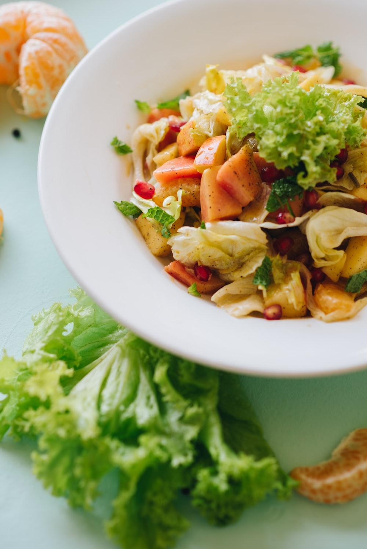 vegetable salad in round ceramic bowl