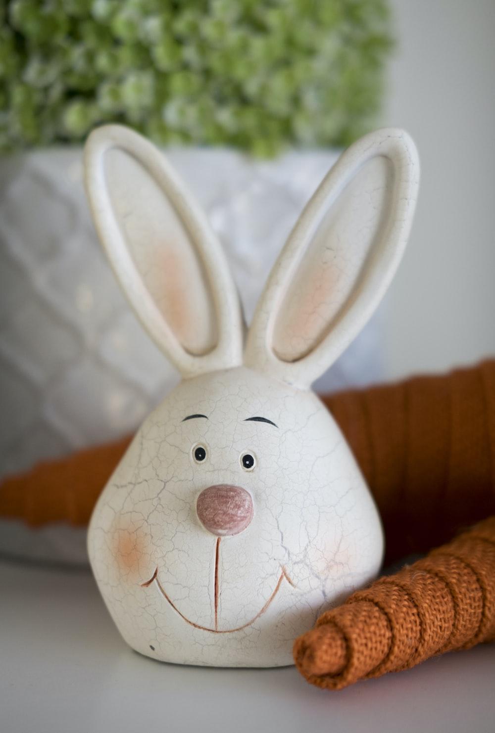 white rabbit head decor