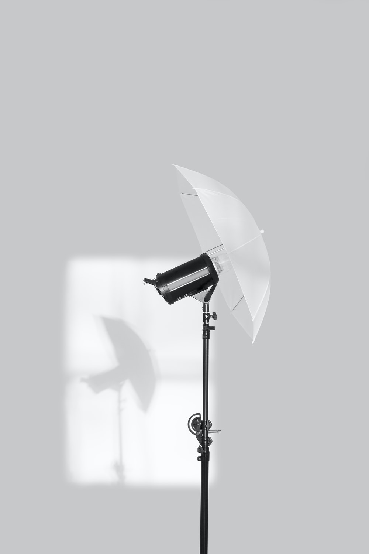 black and white studio umbrella