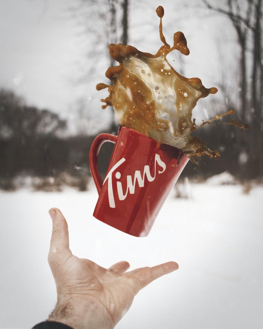 red Tims ceramic mug