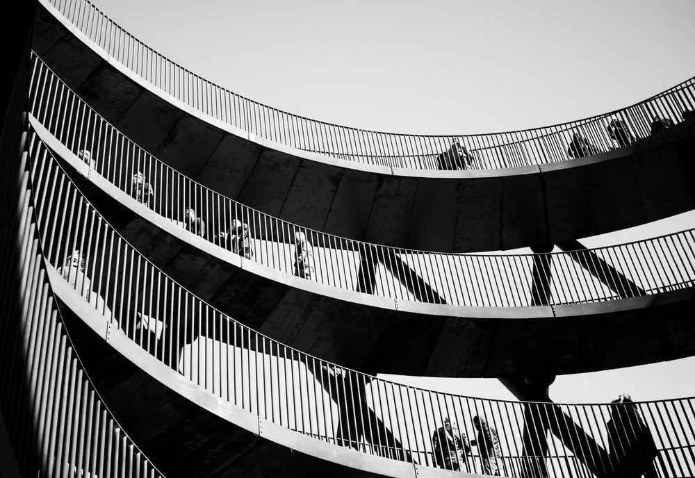 black and grey building balconies