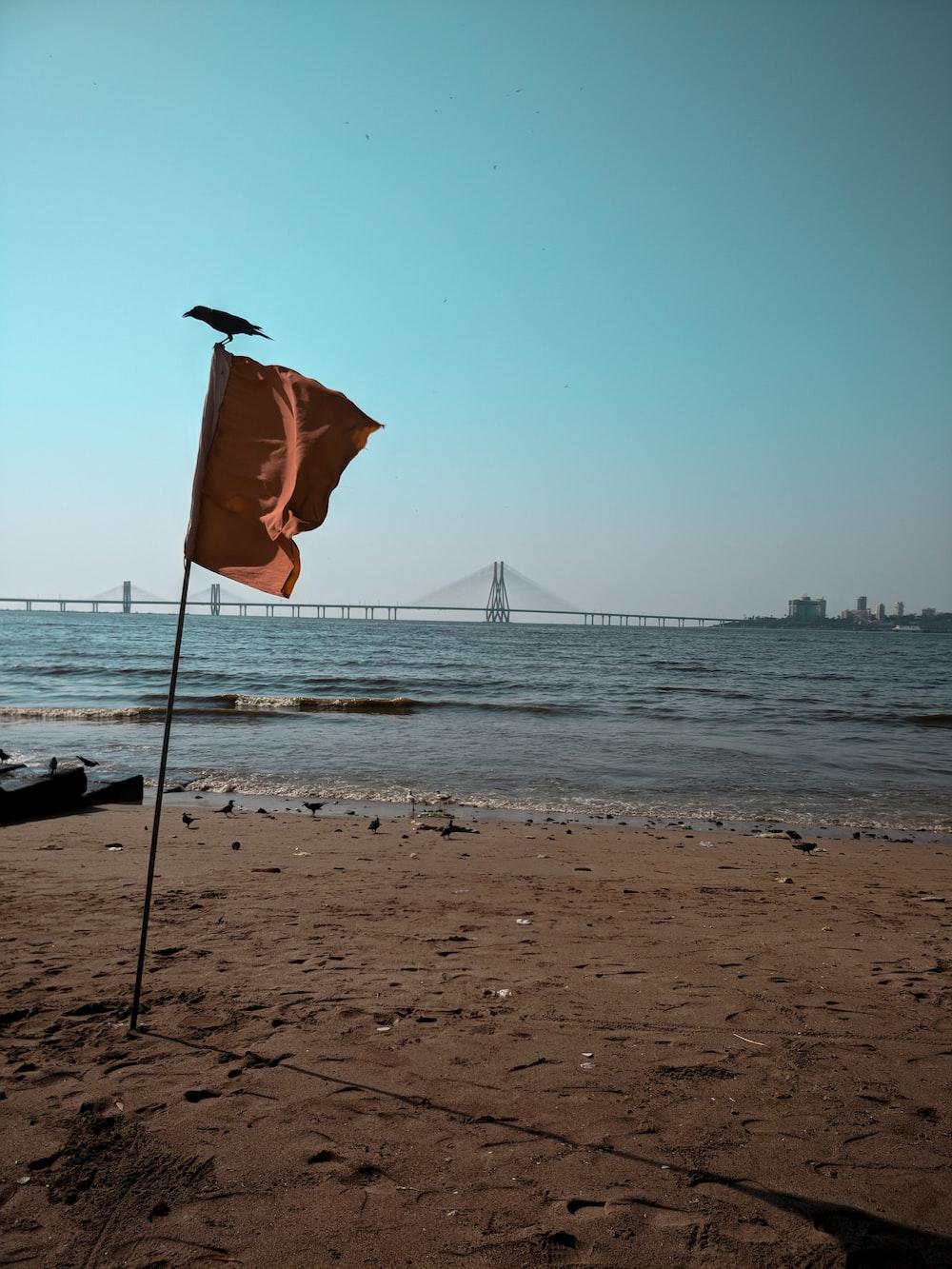 brown banner beside seashore