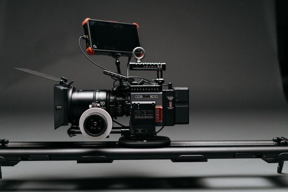 close-up photo of black video camera