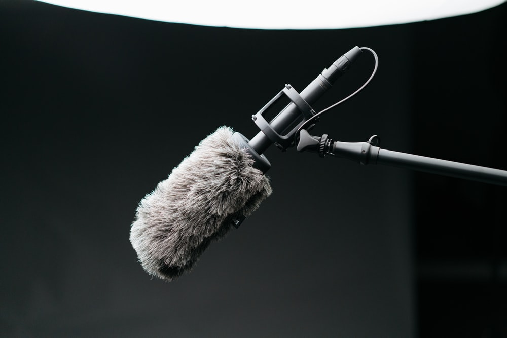 gray microphone with filter