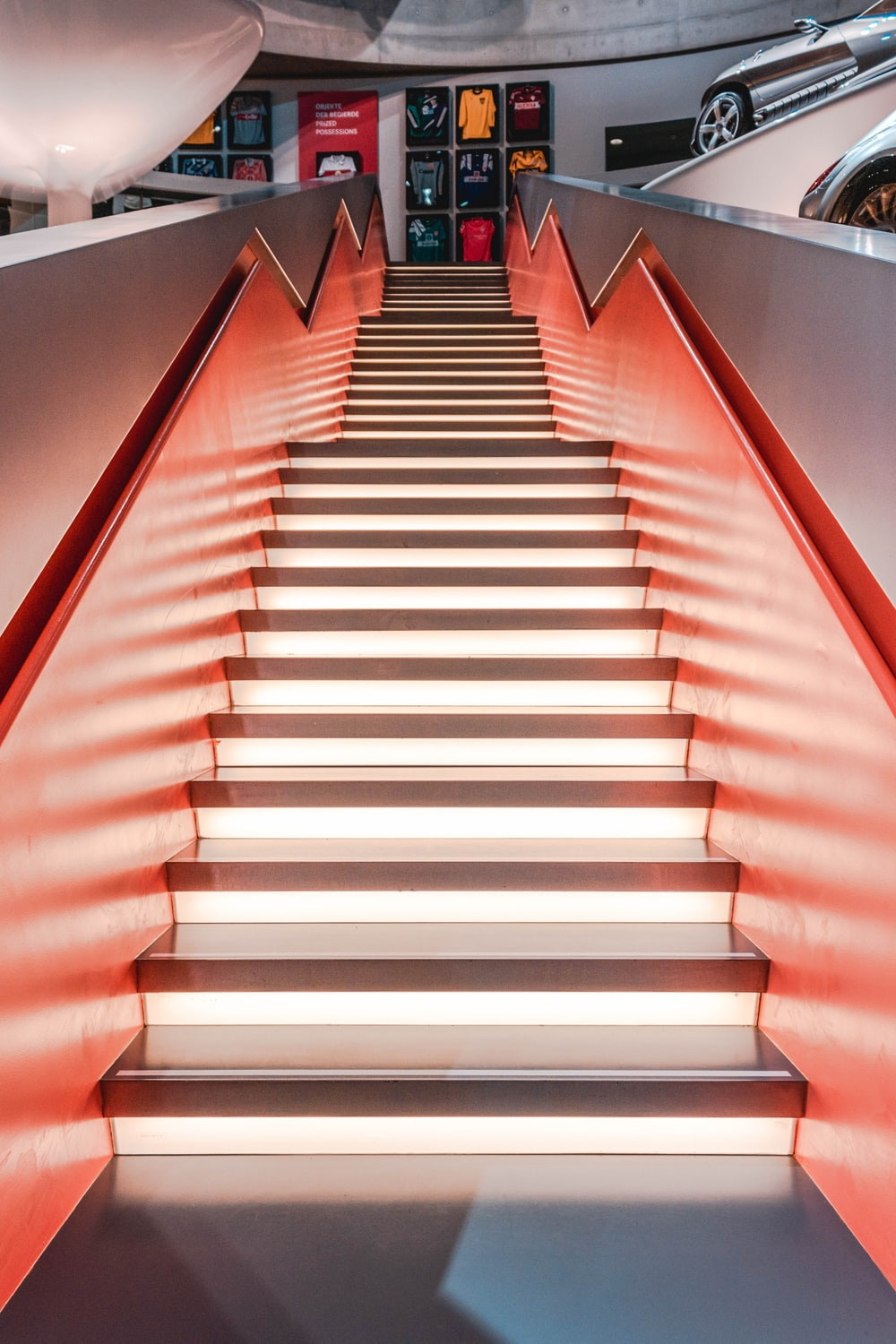 orange and white lighted stairs