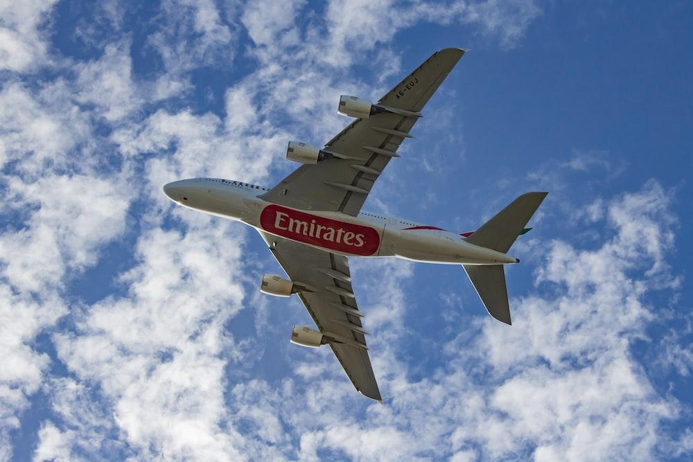 white air plane on mid air