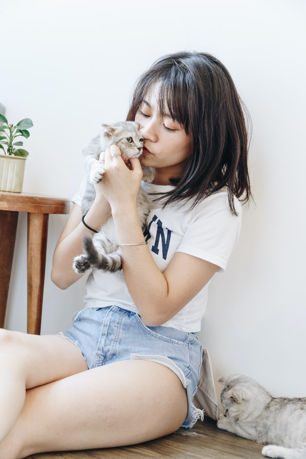 woman sitting and kissing kitten