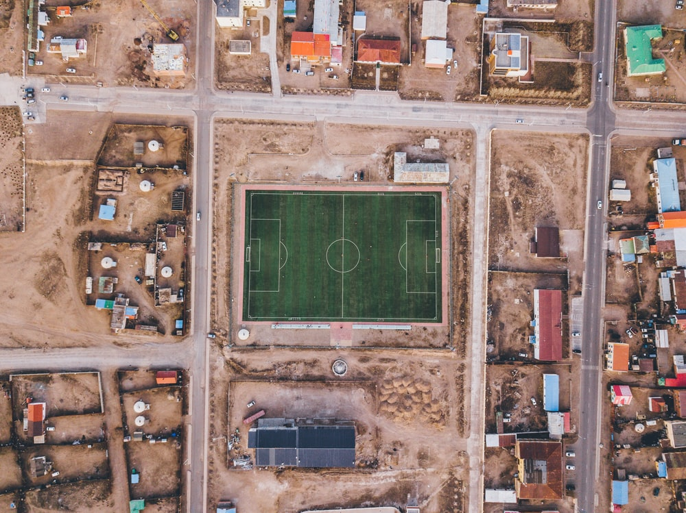 aerial view photography of soccer field