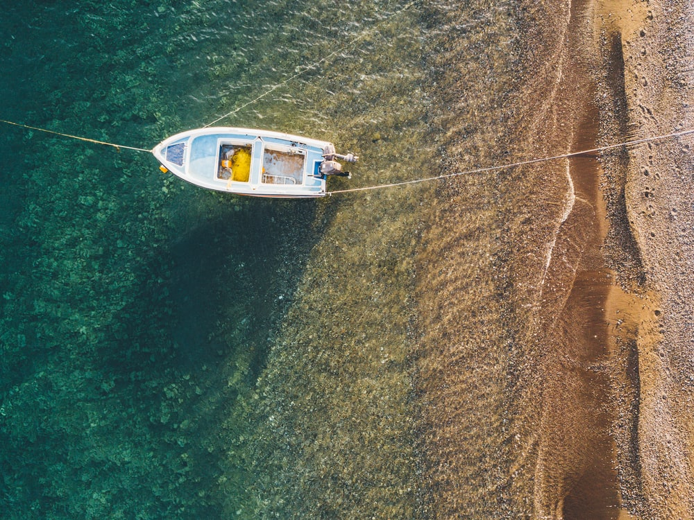 aerial view photography of boat on shore