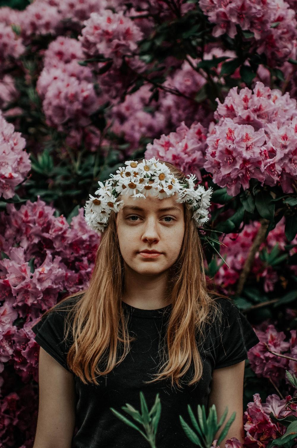 woman wearing flower headdress